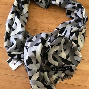 NWT Coach signature print silk cashmere scarf